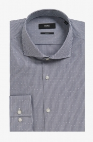 HUGO BOSS CAMICIA UOMO SLIM-FIT MOD. JASON MICROFANTASIA 50298340 BLU