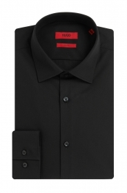 HUGO BOSS Camicia slim fit in cotone tinta unita COL. NERO: 'C-Jenno' by HUGO